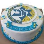 עוגה מעוצבת עם סמל מכבי תל אביב
