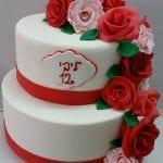 עוגה לבת מצווה ורדים