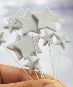 כוכבים בצבע כסף בצק סוכר