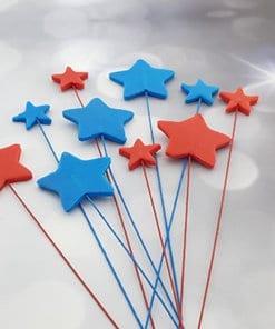 כוכבים כחול אדום מבצק סוכר