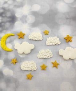 קישוט לעוגה - ירח כוכבים ועננים מבצק סוכר
